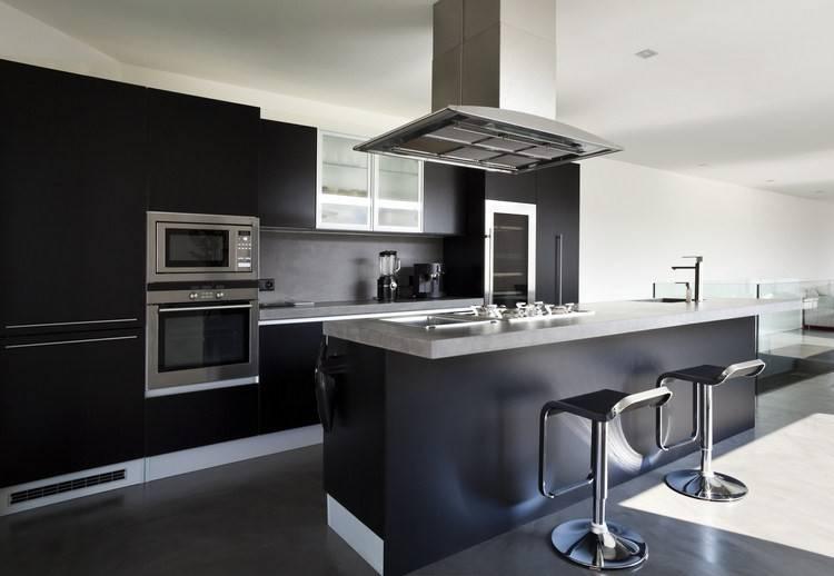 Cuisine Modele GLACE noir mat design et élégant - - idées déco pas ...